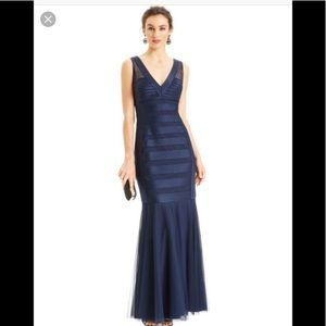 JS Collections Gown Satin & Mesh V-Neck Blue